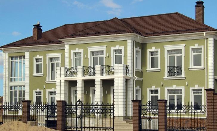 Фасад дома в петровском стиле, декор фасада