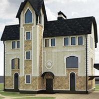 дизайн проект дома с декором и декоративным камнем
