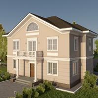 Проект фасада дома с декором и штукатуркой