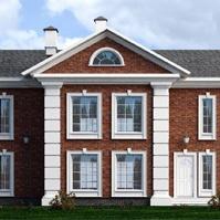 Проект фасада дома с красной клинкерной плиткой и декоративными элементами в английском стиле