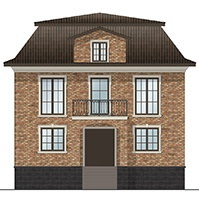 Эскиз фасада дома из кирпича и декора