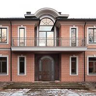 межэтажный и венчающий карниз на доме из кирпича, оформление арочного фронтона