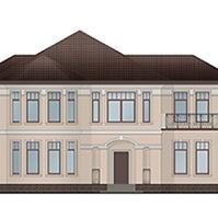 Проект фасада здания с венчающим и межэтажным карнизами по периметру дома