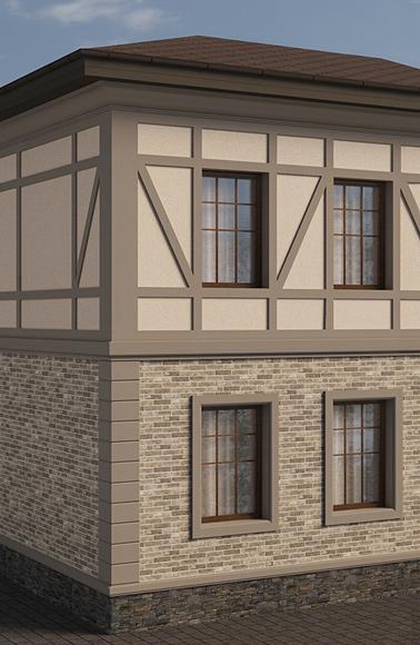 фахверк на фасаде и декор окон