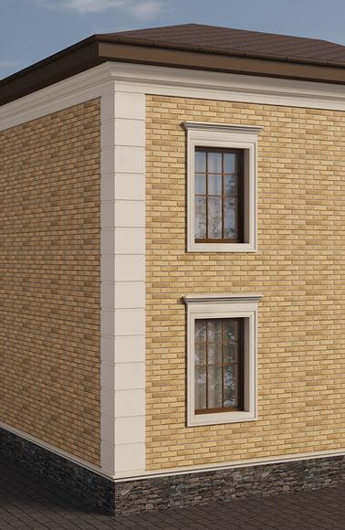 сандрики на окнах и русты на углу дома