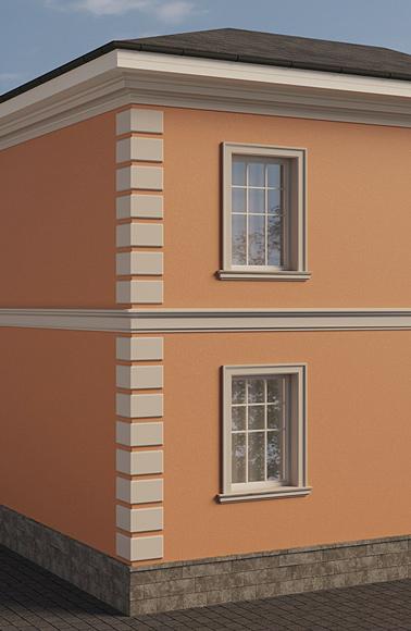 русты на фасаде и решение декору окон