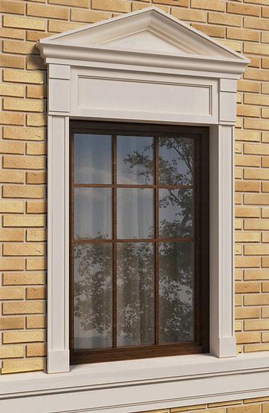 развитое оформление окна фасадным декором