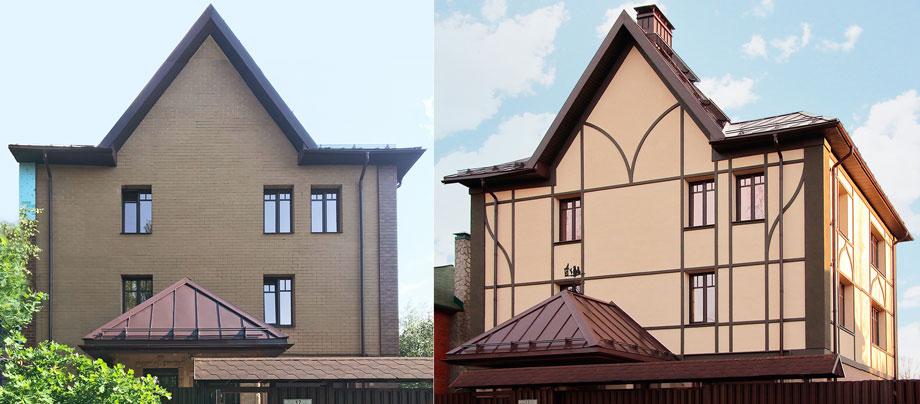 фасад до и после с декором