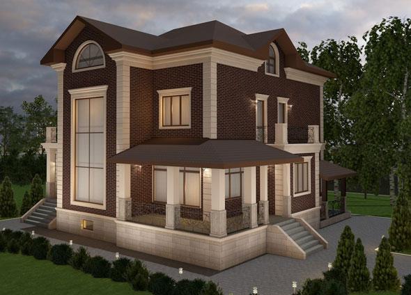 3д визуализация фасада дома